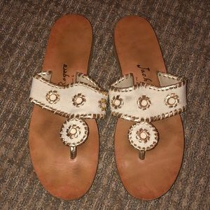 Jack Rogers - white and gold - size 8